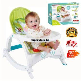 BEST SELLER!! 2 IN 1 TODDLER PORTABLE ROCKER DINING TABLE Newborn to Toddler (GREEN) + FREE GIFT : SUPERSTORE15