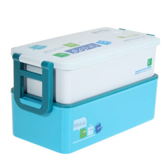 2 layer Bento Lunch Box for Kids Food Container Food Tableware 850ML(Blue)