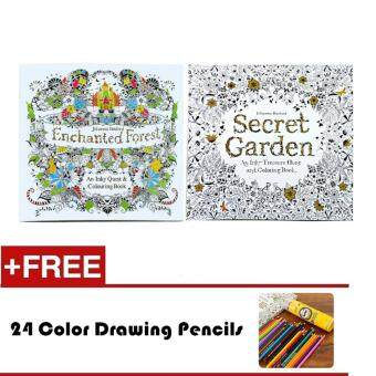 2 Pcs 24 Photos Adults Children Graffiti Book Enchanted Forest And Secret Garden Colouring With