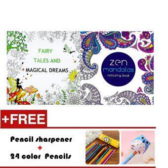 2 Pcs 24 Photos Adults Children Graffiti Book Magical Dreams And Zen Mandalas Colouring With