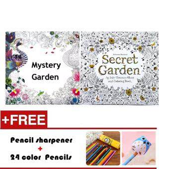 2 Pcs 24 Photos Adults Children Graffiti Book Mystery Garden And Secret Colouring With