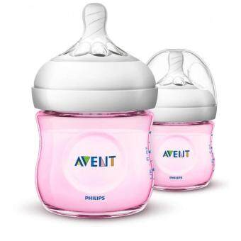 Avent Natural Pink Bottle 4oz / 125ml x 2 (Twin Pack)