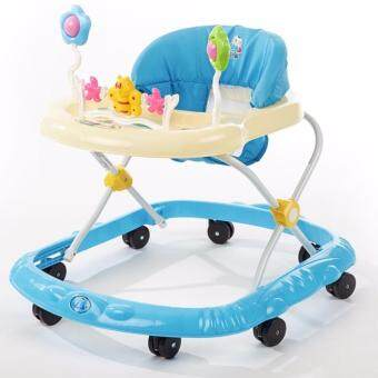 Harga Baby Walker With Music Ride-on Toy with Music and Bricks ChildrenActivity Foldable Adjustable Car (Blue)
