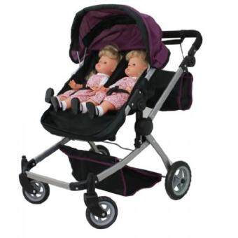 Babyboo Deluxe Twin Doll Pram/Stroller Purple & Black with Free Carriage Bag (Multi Function View All Photos) – 9651A