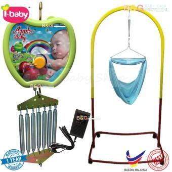 Harga B&G Baby Local Premium Baby Safety Spring Cot Stand(Epoxy)Multi Colour With Roller With Cradle Net (Random Color) + AppleAUTO CRADLE (1 YEAR WARRANTY)