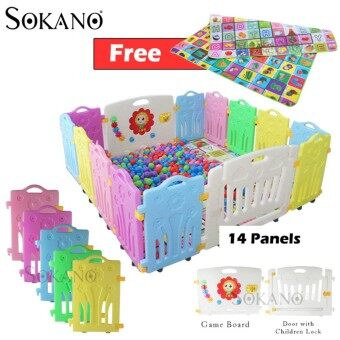 BUNDLE: SOKANO 14 Panels Baby Safety Play Yard With Safety Door and Game Wall (12 Panels + 1 Game Wall + 1 Door)  + (180cm x 150cm) Double Side Waterproof Crawling Mat