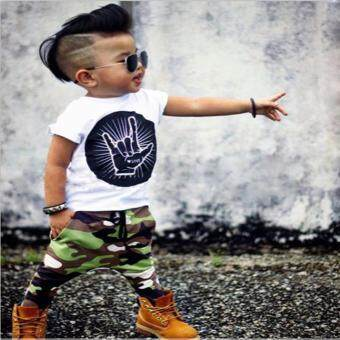 Casual Toddler Baby Kids Boys Clothes Set T-shirt Tops CamouflagePants Outfits