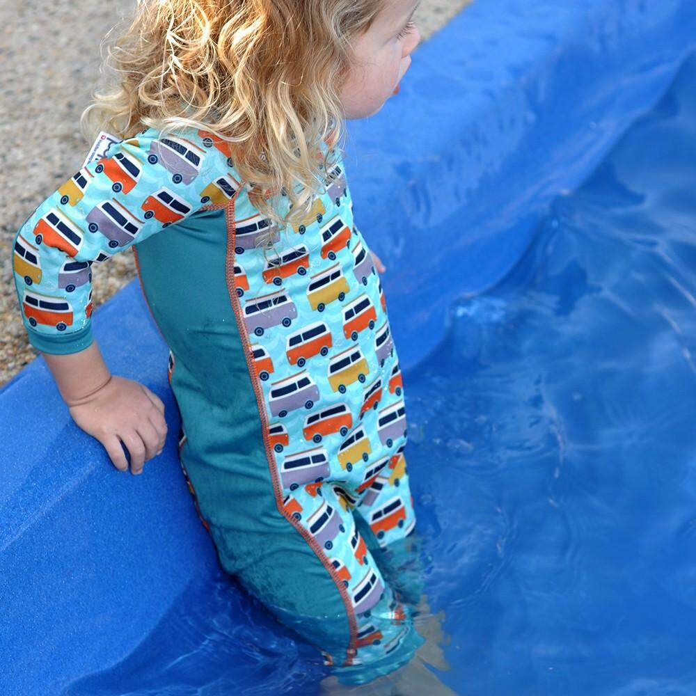 [CLOSE PARENT] Pop-in Toddler Snug Suit - Campervan green (sized L - for 18 - 24 months) *best buy