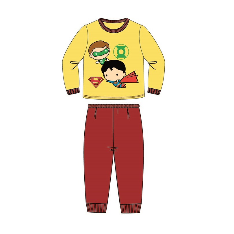 DC Comics Superman Toddler Pajamas 100% Cotton 1yrs to 3yrs - Yellow And Maroon Colour