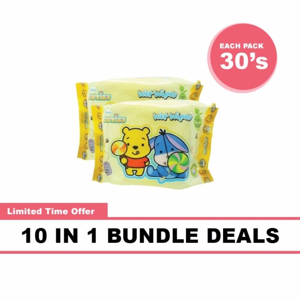 Disney Cuties Baby Wet Wipes Convenient Pack 10 x 30's Bundle Deals