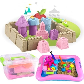 Harga DIY Kinetic Space Sand With Colors (2kg) Theme Wooden Toy Building Blocks Puzzle milk lego rc games bricks (Sand)