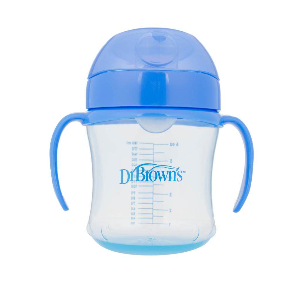 Dr. Brown's 6 oz / 180 ml Soft-Spout Transition Cup - Blue with Handles (Stage 1: 6month+)