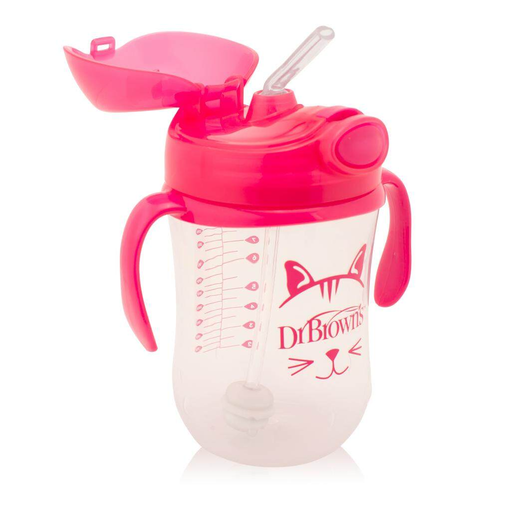 Dr. Brown's 9 oz / 270 ml Baby's First Straw Cup with Handles - Pink (Stage 1: 6month+)