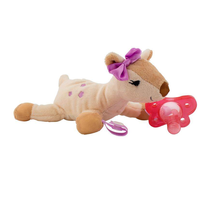 Dr. Brown\'s Dercy The Deer Lovey Pacifier & Teether Holders with Pink One-Piece Silicone Pacifier
