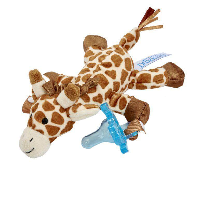 Dr. Brown\'s Gerry The Giraffe Lovey Pacifier & Teether Holders with Blue One-Piece Silicone Pacifier