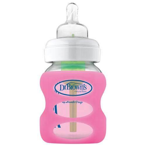 Dr. Brown's Natural Flow 5 oz / 150 ml Wide-Neck Glass Bottle Sleeve - Pink