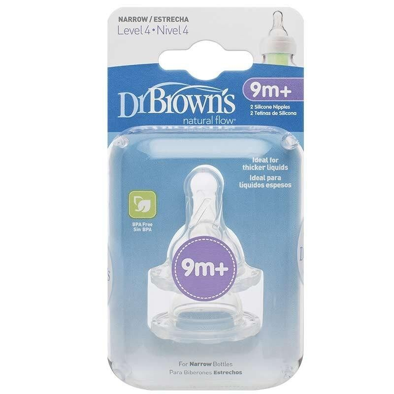 """Dr. Brown\'s Natural Flow Level-4 Silicone Narrow-Neck """"Options"""" Nipple (2-Pack)"""