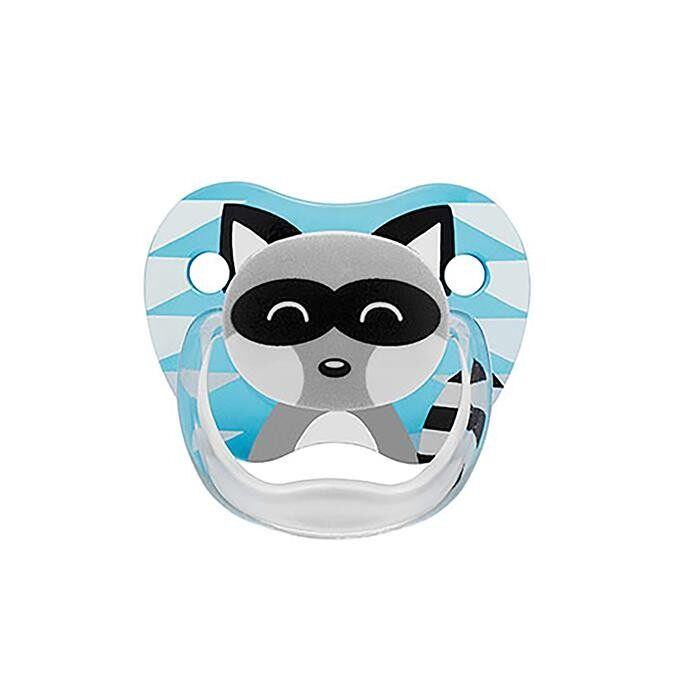 Dr. Brown\'s PreVent PRINTED SHIELD Pacifier - Stage 1 * 0-6M - Boy Animal Faces (Raccoon & Fox) (2-Pack)