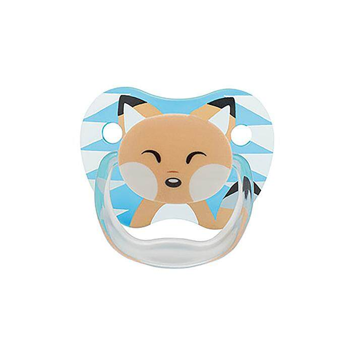Dr. Brown's PreVent PRINTED SHIELD Pacifier - Stage 1 * 0-6M - Boy Animal Faces (Raccoon & Fox) (2-Pack)