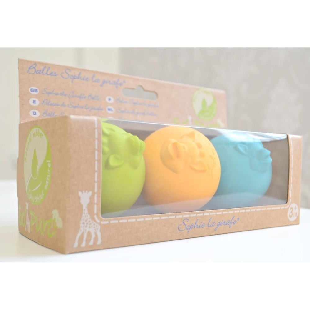 [FRANCE - SOPHIE LA GIRAFE] So'Pure Balls (3pcs in natural rubber) Teether - 3 months+