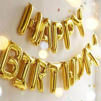 "Harga ""Happy Birthday"" Letters Foil Ballons for Birthday Party DecorationSupplies (Golden)"