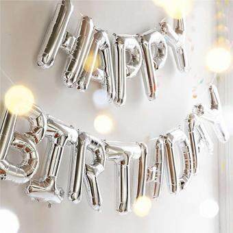 "Harga ""Happy Birthday"" Letters Foil Ballons for Birthday Party DecorationSupplies (Silver)"