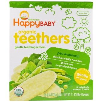 Harga Happy Baby Organic Teethers Teething Wafer - Pea & Spinach