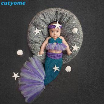 Harga 3pcs/set Newborn Photography Props Clothing Set Knitted Mermaid Crochet Headband Tutu Bra and Cocoon Fishtail Baby Props