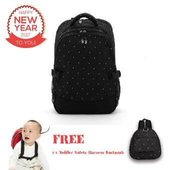 Harga Polka Dots Large Capacity Baby Diaper Nappy Mummy Bag Backpack + Free Toddler Safety Harness Backpack (Black)