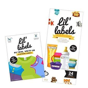 Harga Lil Labels Daycare Value Pack Write on Name Labels, Waterproof, Baby Bottle Labels (Animal Friends) & Clothing Labels, Plus 2 Bonus Gifts
