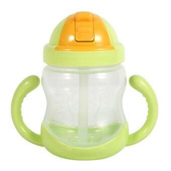 Harga 280ML Baby Cup Drinking Straw Children Feeding Bottle Cups (Green)