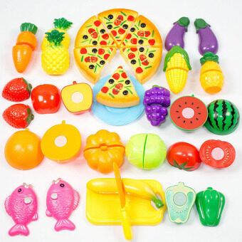 Harga 360WISH 24Pcs Plastic Fruit Vegetable Kitchen Cutting Toy Early Development and Education Toy for Baby Kids Children