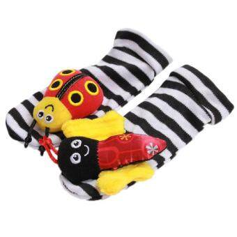 Harga Hang-Qiao 1 Pair New Baby Infant Foot Socks Rattles Bees Ladybird