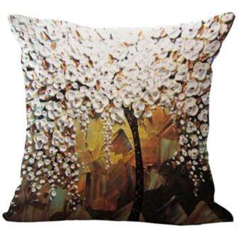 Harga BolehDeals Three-dimensional Oil Painting Tree Flower Cushion Cover Pillow Case #1