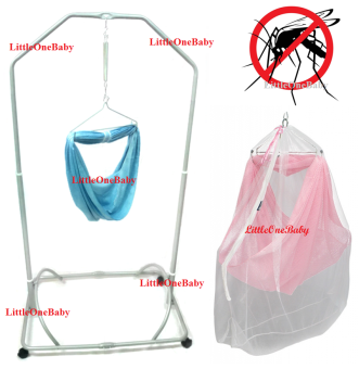Harga LittleOneBaby Local Premium Baby Safety Spring Cot Stand(Epoxy)Side Steel Bar Support With Cradle Net (Random Color) With Anti Zika Mosquito Net With Zipper BEST SELLER!