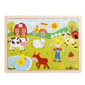 Harga 360WISH 60-Piece Farm Wooden Jigsaw Puzzle Baby Kids Children Educational Toy