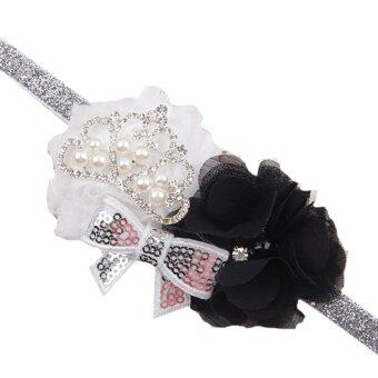 Harga Toddler Infant Crystal Crown Flower Bowknot Headbands Baby Soft Diamond Fabric Hair Band Black