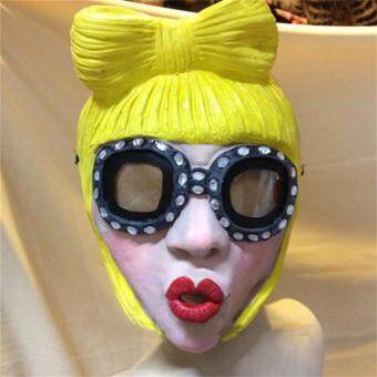Harga Lady Gaga Party Halloween Latex Rubber Mask Cosplay Costume Full Face Masks Woman Man Children Mask Anonymous Masquerade
