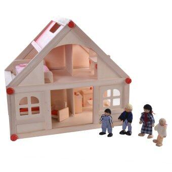 Harga Mamakiddies First Classic Wooden Dolls House with Furniture + 4 Family Dolls