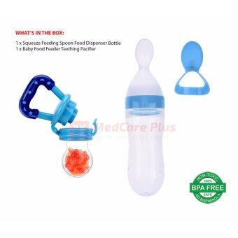 Harga [Bundle] Baby Feeding Spoon Squeeze Dispenser and Baby Food Feeder Teething Pacifier (Blue)