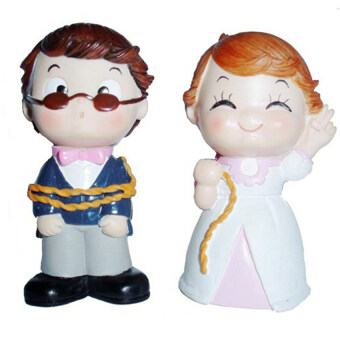 Harga GDS Resin Craft Toy Doll Binding Couple Ornament Wedding Gift