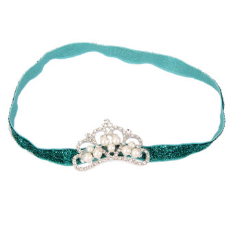 Harga Infant Baby Rhinestone Pearl Crown Hair Bands Photography Headband - Green