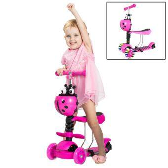 Harga BEIQITONG Ladybird Kids Scooter 3 in 1 LED Light Wheels With Adjustable Seat Tricycle Scooter