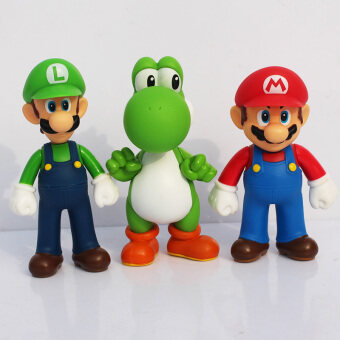 Harga 3pcs/set 5inch Super Mario Bros PVC Figure Toys 13cm Luigi Mario Yoshi Action Figures Model Toys