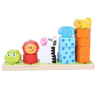 Harga 360WISH Cartoon Animal Stacking Wooden Counting Stacker Baby Kids Children Educational Toy