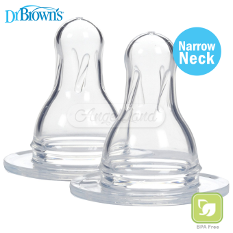 Harga Dr Brown´s Narrow Neck Silicone Nipple (Level 2) 3m+ (30488)