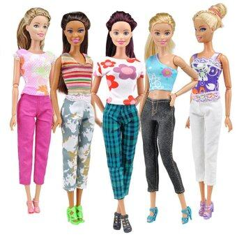 Harga Handmade Doll Clothes 5 Sets of Printing T-shirt and Pants Daily Wear for Barbie Dolls
