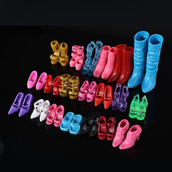 Harga Mix 24pcs/12Pairs Shoes Boots Decor Barbie Doll Girls Play House Gift Color