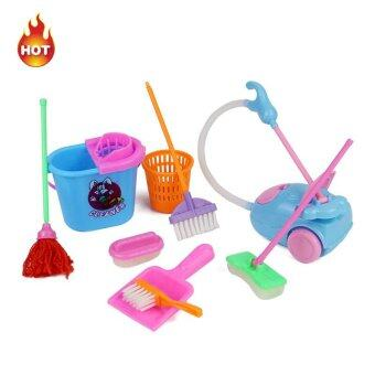 Harga 9pcs/lot Delicate Doll House Cleaning Mop Broom Tools Pretend Play Furniture Toys Kit For Girls Kids Dolls Accessories