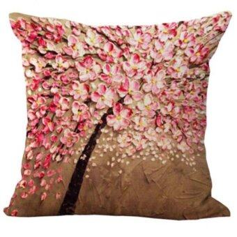 Harga BolehDeals Three-dimensional Oil Painting Tree Flower Cushion Cover Pillow Case #4